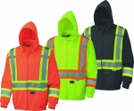 HI VIS SAFETY TRAFFIC FLEECE HOODIE