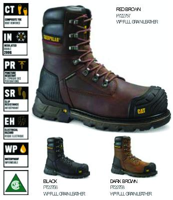 "3a0a598db27 CAT - EXCAVATOR XL 8"" WP TX CT CSA SAFETY WORK BOOTS"