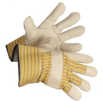 One-Piece Smooth Cowgrain Leather Palm Rigger Glove  -  12/pack