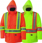 PIONEER PROTECTIVE - HI-VIZ 150 D LIGHTWEIGHT SAFETY JACKET WITH DETACHABLE HOOD