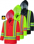 PIONEER PROTECTIVE - FLAME RESISTANT FR PU STRETCH HI-VIS SAFETY RAIN JACKET