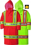 PIONEER PROTECTIVE - FLAME RESISTANT FR PU STRETCH HI-VIS SAFETY LONG RAIN COAT