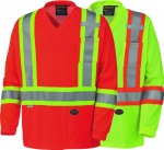 PIONEER PROTECTIVE - HI-VIZ TRAFFIC MICRO MESH LONG SLEEVED SAFETY SHIRT