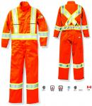 "RASCO HI VIS ORANGE 7oz 88/12 FR COVERALL WITH 4"" REFLECTIVE TAPE"